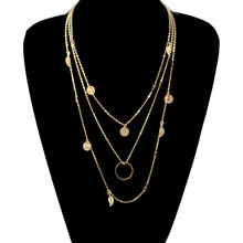 New Multilayer Chain Choker Necklace Sequined Leaf Tassel Pendant Necklaces for Women Collares Jewelry цена 2017
