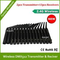Бесплатная доставка DHL  15 шт.  2 4G DMX  беспроводной контроллер для диджеев  2 шт.  передатчик и приемник 13 шт.