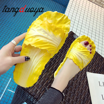 flip flops Women's Slippers Home Bathroom Flip Flops Funny Shoes Cabbage shoes women Non Slip Soft Slip On Outdoor Slides Lady 1