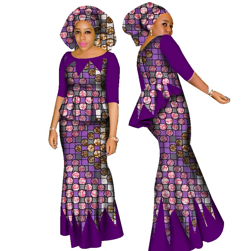 Hight Quarlity 2019 African Women-kjol Set Dashiki Cotton Crop Top och Kjol Set + Head Scarf Good Sewing Kvinnor Passar WY1437
