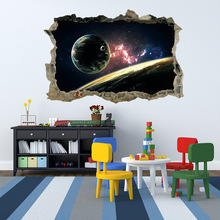 1pc Galaxy Planet Space 3D Stereo Effect Wall Sticker For Kids Bedroom Floor Art Vinyl Decal Removable Waterproof Home Deco