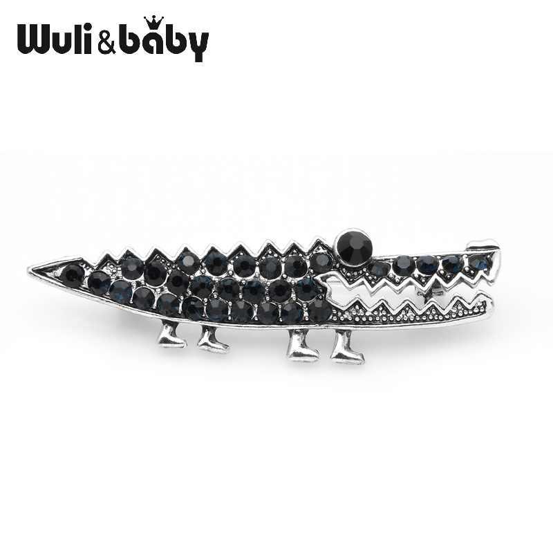 Wuli Bayi 2019 DARK BIRU Berlian Imitasi Buaya Bros Wanita dan Pria Hewan Bros Pin Perhiasan Hadiah