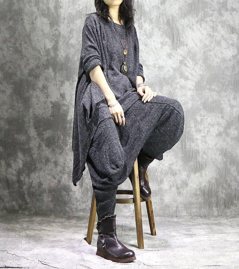 ผู้หญิงไม่สม่ำเสมอ + Elastic เอว Harem กางเกงกางเกงชุดสุภาพสตรีชุดลำลองหญิงชุดสูท 2018 ฤดูใบไม้ผลิฤดูใบไม้ร่วงชุด-ใน ชุดสตรี จาก เสื้อผ้าสตรี บน   2