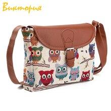 CHARA'S BAGS brand new Canvas Shoulder Bags women's Owl print embroidery Handbags Designer Female Fashion messenger bags