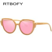 RTBOFY Wood Sunglasses Women Brand Design Bamboo Frame Glasses Polarized Lenses Sunglass UV400 Protection Shades Eyewear