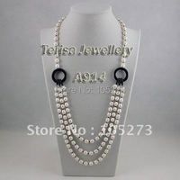 New Free Shipping A914# Grade AA 7 8MM Pearl 60 76CM 3Rows Black Onyx Freshwater Pearls Necklace Fashion Women's Jewelry