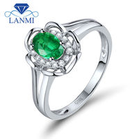 Engagement Ring Flower Design Oval 4x6mm Natural Emerald 18K White Gold Promise Ring WU259
