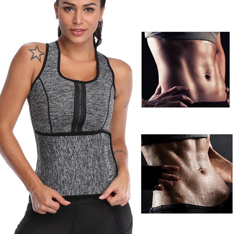 Image 4 - Miss Moly Neoprene Sweat Waist Trainer Body Shaper Modeling Belt Tummy Slimming Sheath Reducing Corset Woman Zipper Shapewear-in Tops from Underwear & Sleepwears