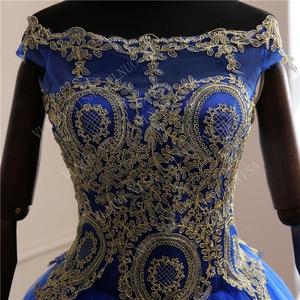 Image 4 - New Arrivals spring summer romantic luxury Vintage Lace appliques blue wedding dress Off White long  80 cm train