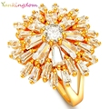 Yunkingdom Trendy Brand  Geometric Rings Classic Cut Clear Zircon Crystal Gold Plated Rings for Women ALP0015