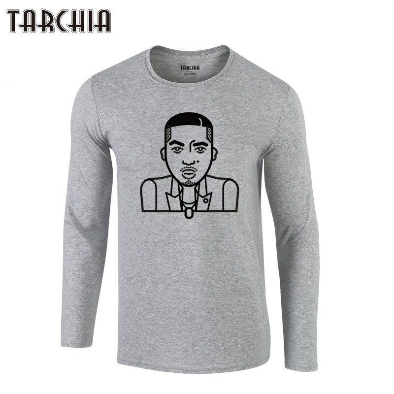 TARCHIIA 2019 Hommes hip hop À Manches Longues Nas Tee musique Plus La Taille 100% Coton Homme nouvelle Marque de mode rappeur T-Shirt eur Taille