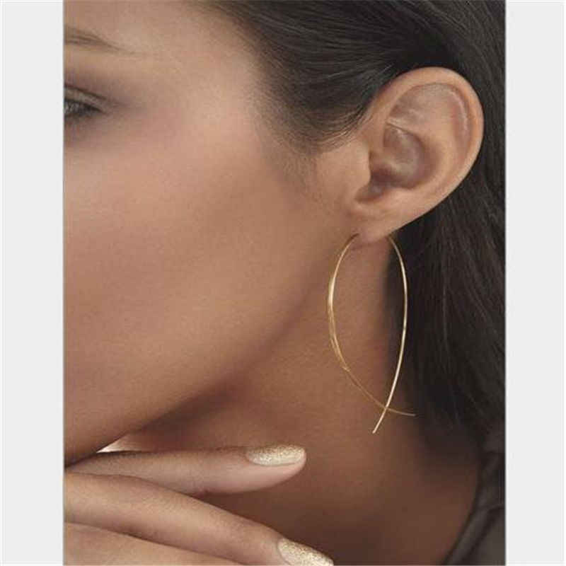 הודי תכשיטי חדש אופנה פשוט מינימליסטי תכשיטי דגי חוט עגילי עבור נשים כסף זהב עגילי חישוק נקבה מתנות e019