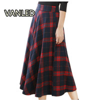 New 2017 Winter New Product Lattice Woolen In Longuette Leisure Time Will Fat Code MM Skirt
