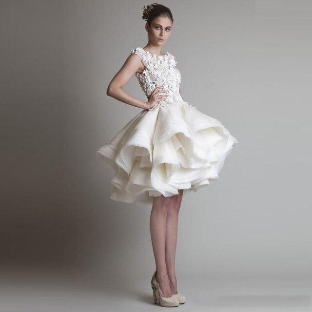 6b1468bc13 2016 Elegantes Vestidos de Coctel Cortos de la Joya Sin Mangas Apliques Sexy  Espalda Corta Tutu