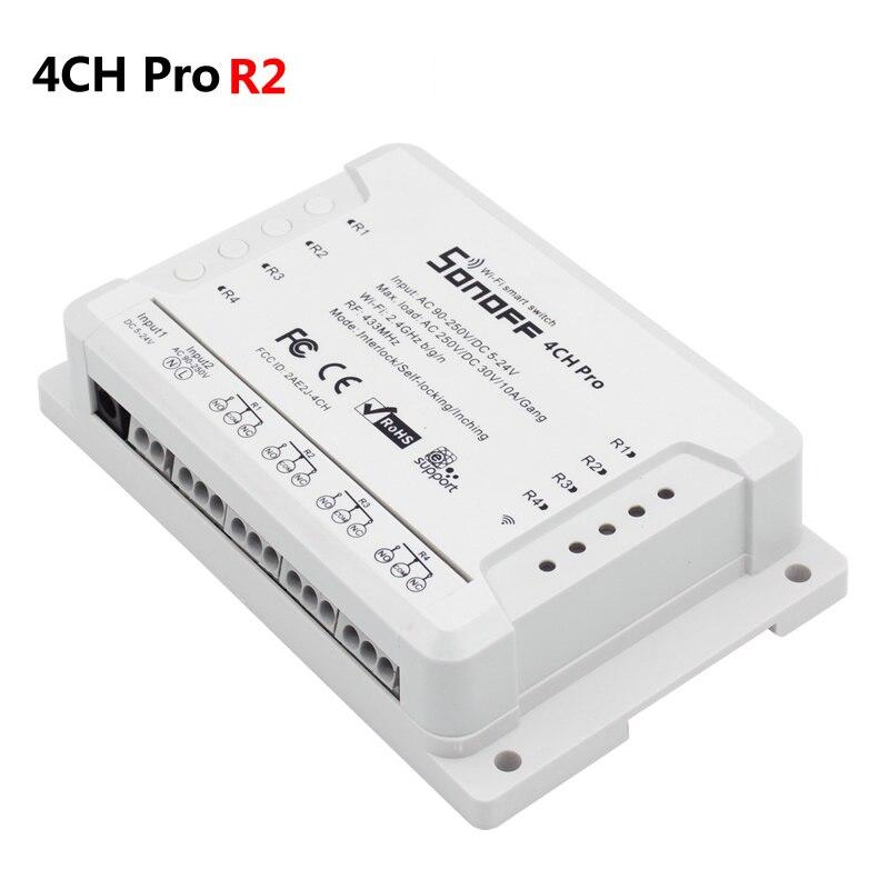 2018 Sonoff 4CH Pro 4 Canaux WiFi RF Intelligent SUR MARCHE/ARRÊT Intelligent Télécommande Inching/Autobloquant /Interlock/Minuterie Monté Sur Rail DIN