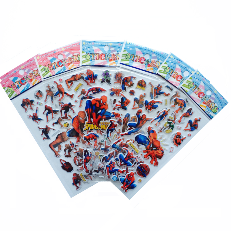 6Pcs/lot Bubble Stickers 3D Cartoon Spider Man stickers Classic Toys Scrapbook For Kids Children Gifts 6 sheets lot 3d puffy bubble stickers mixed cartoon kawaii stickers toys dress up girl changing clothes kids toys for children