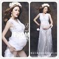 Novo estilo real branco rendas maternidade fotografia props fancy dress grávida verão gravidez maternidade photo shoot longo dress