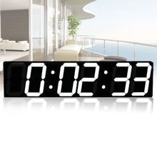 Remote Control Oversize Led Wall Clock 3D Big Screen Digital Timer 6 Digits Stopwatch Countdown Alarm
