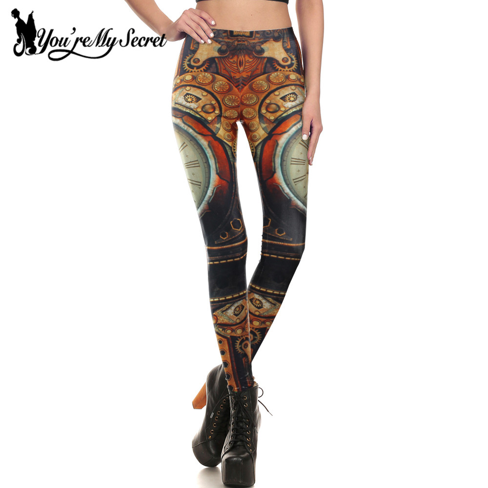 [You're My Secret] Steampunk Leggings Women Mechanical Screw Retro Clock Gear Print Punk Bottoms Workout Fitness Leggins Women