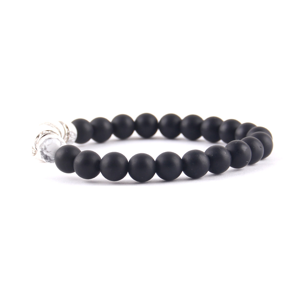 WML mens fashion bracelet skull charm crystal Rims charm Natural Stone beads Bracelets Bangles for Men Jewelry in Charm Bracelets from Jewelry Accessories