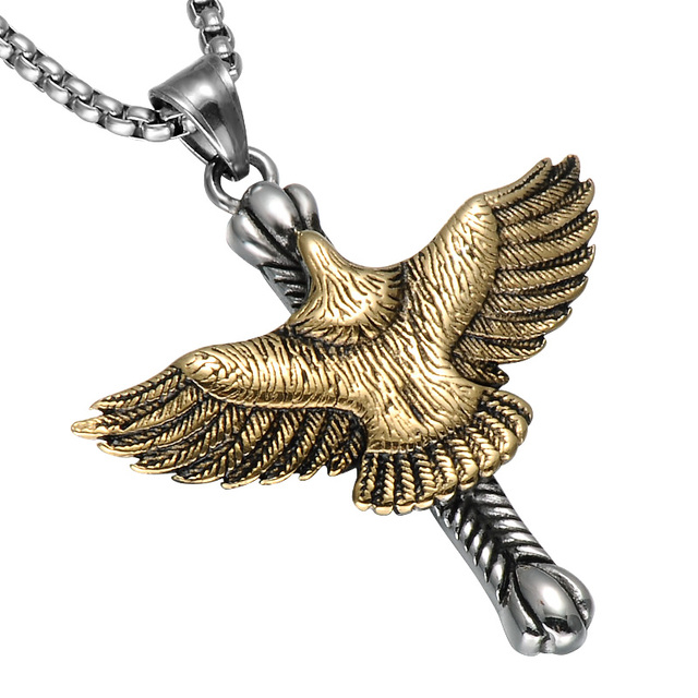 Hip trendy cross eagle pendant necklaces biker cool stainless hip trendy cross eagle pendant necklaces biker cool stainless steel flying eagle necklace for men aloadofball Images