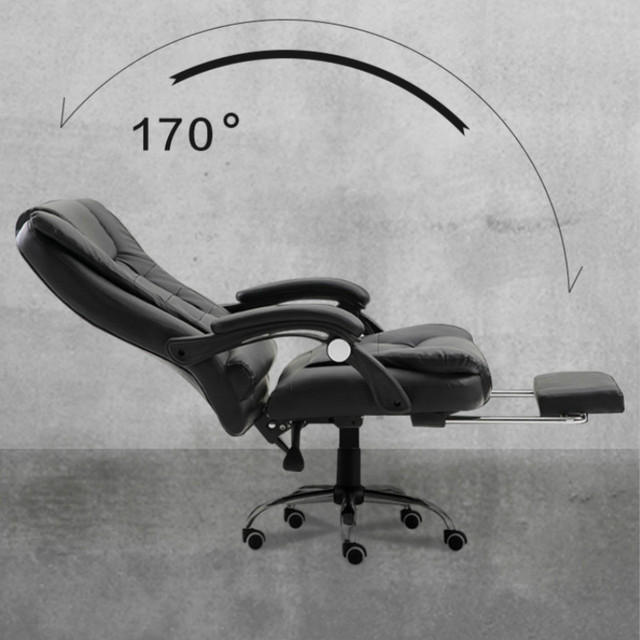 Genuine Leather Computer Chair Household Leather Office Chair PU Swivel Lift Gaming Chair 3