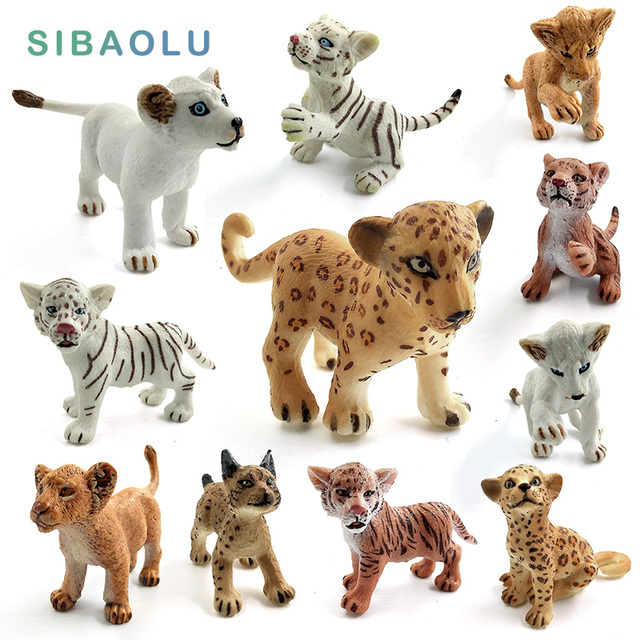 Simulação mini leão tigre lince figura pvc modelo animal estatueta casa decoração em miniatura fada jardim decoração acessórios estátua