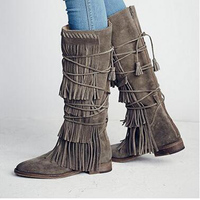 Chic Women Grey Suede Tiered Tassel Fringe Lace Up Knee High Flat Boots knee high hot sale warm shoes fashion zip