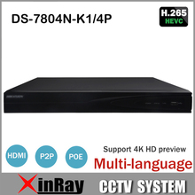 Hik 4CH POE NVR DS-7804N-K1/4P with 4K Resolution H265 NVR 1 SATA Interface replace DS-7604N-E1/4P for Securtiy CCTV IP Camera