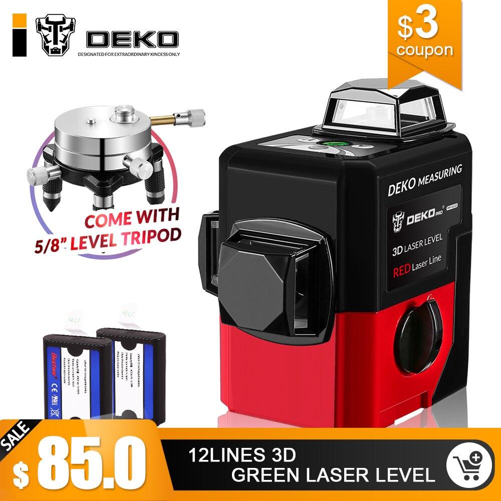 DEKO LL12-HV 12 Linien 3D Laser Ebene Selbst Nivellierung 360 degre Horizontale & Vertikale Kreuz Leistungsstarke Außen verwenden können detektor
