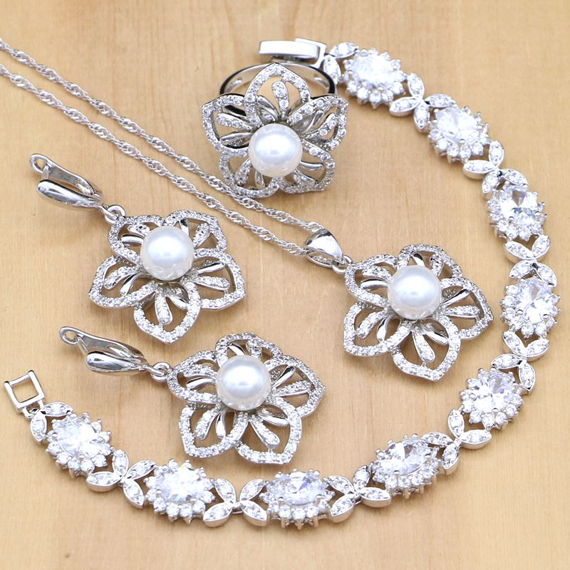 Flower Shaped Silver 925 Jewelry Sets White Pearl With CZ Stones Decoration For Women Earrings/Pendant/Ring/Bracelet/Necklace Flower Shaped Silver 925 Jewelry Sets White Pearl With CZ Stones Decoration For Women Earrings/Pendant/Ring/Bracelet/Necklace