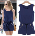 2014 New Summer women's one pieces Navy Blue jumpsuits & rompers O-neck Sleeveless Zipper female overalls catsuit shorts XXL