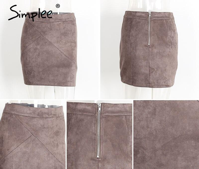 Simplee Autumn vintage leather suede pencil skirt winter 18 Cross high waist skirt Zipper split bodycon short skirts women 13