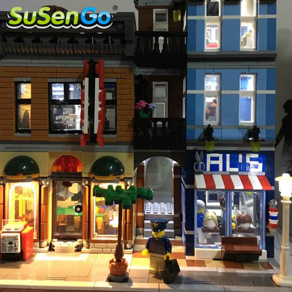 SuSenGo LED Light Kit For Expert Detective's Office Creator Street Building Model Block 10246 Compatible With Lepin 15011 lightaling led light set compatible with brand camping van 10220 building model creator decorate kit blocks toys