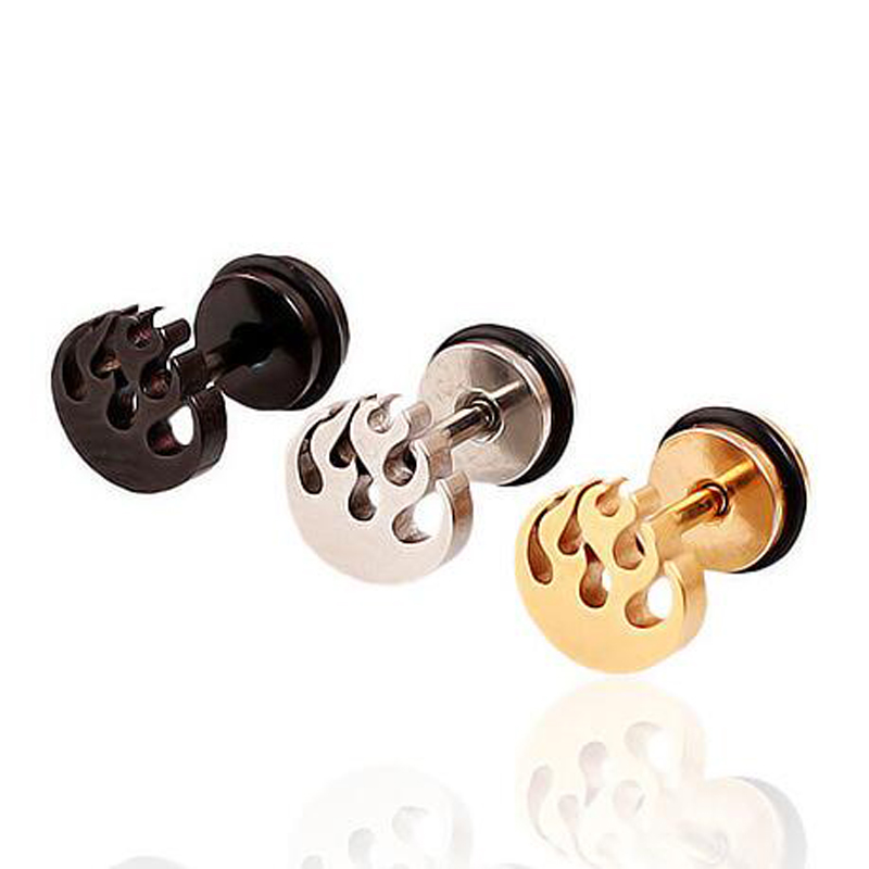 SaYao 2 Piece Flame Stainless Steel Studs Men boy girl punk Fire blaze Gold rock Earrings Cosplay Stud Earring ...