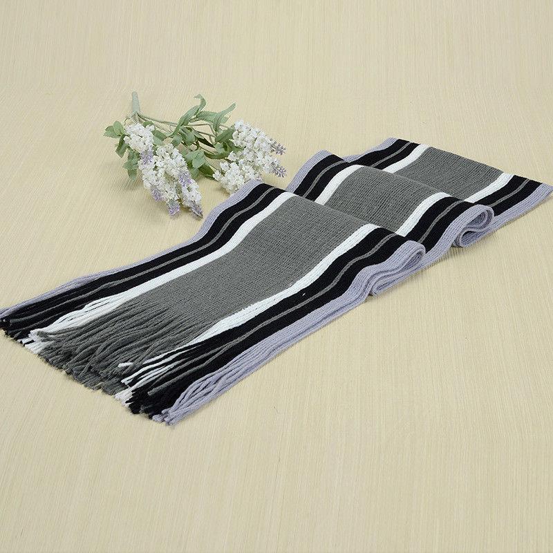 Hot Fashion Mens Cashmere Scarf Winter Warm Soft Cotton Scaves Fringe Striped Tassel Long Shawl Wrap