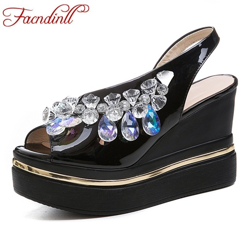 FACNDINLL summer women shoes sandals fashion wedges sandals new sexy high heels rhinestone shoes woman dress party wedding shoes facndinll summer shoes women sandals