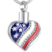 IJD8729  Stainless Steel Cremation American Flag Heart Shaped Jewelry Necklace Urn Souvenir Pendant