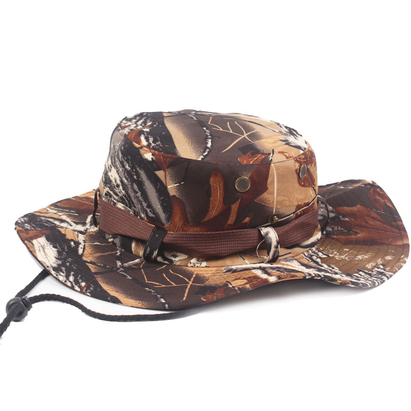 Camouflage Bucket Hats Wide Brim Sun Visor Cap Men s Male Outdoor Jungle  Hiking Fishing Angler Hat 5 Colors-in Fishing Caps from Sports    Entertainment on ... 8e6ea182c2f5