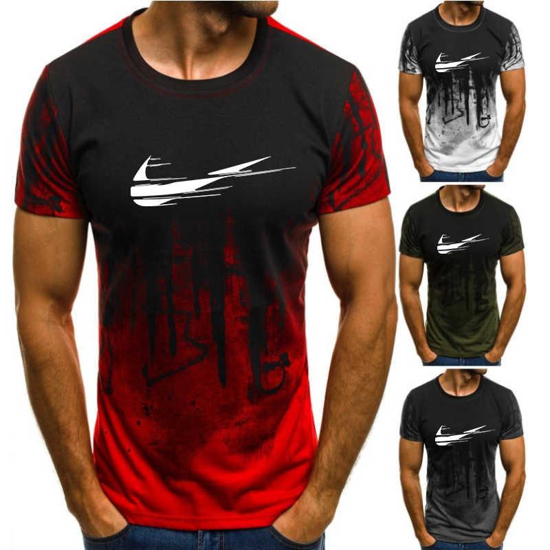 2019 Baru Musim Panas Katun Gym Kebugaran Pria T-shirt Merek Pakaian Olahraga T Shirt Pria Lengan Pendek Berjalan T shirtM-4XL