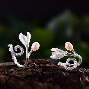 Image 3 - Lotus Fun Real 925 Sterling Silver Natural Pearl Creative Handmade Fine Jewelry Magnolia Flower Rings for Women Designer Bijoux