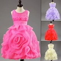 Retail Hot! Latest Achieve Noble Girl Dress, 3D Rose Flower Girl Dresses Layered Princess Tutu Dresses.baby Christening Dress