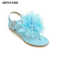 New Sweet Women Shoes Flower Flip Flops Flat Sandals Women Summer Girl S Shoes Blue Pink