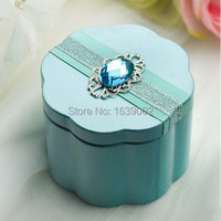 Chinese fancy flower attached gift metal box wedding favor gift favors