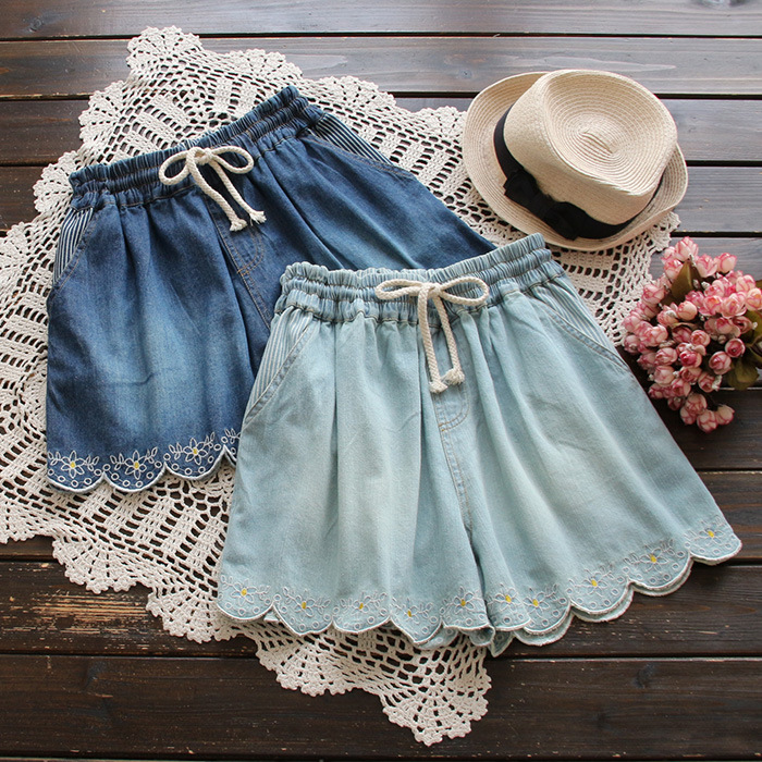 Forest Embroidery Floral Cotton Denim Shorts Women Summer 2019 New Arrivals 2colors