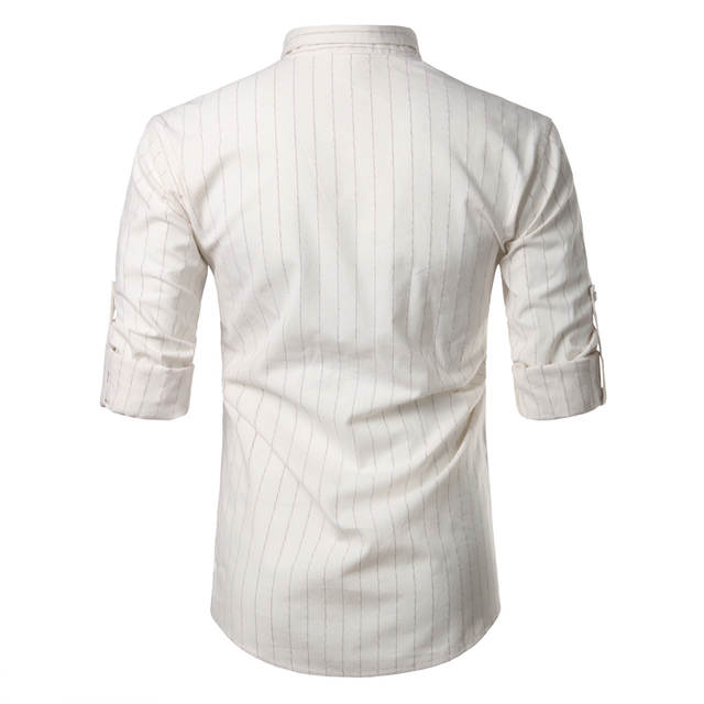 d13037a22c8 Online Shop Cotton Linen Shirt Men 2017 Rolled Up Sleeve Striped Mens Dress  Shirts Casual Regular Big Tall Chemise Homme Henley Shirt Camisa