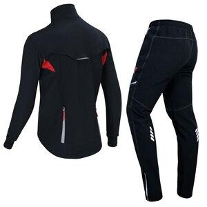 Image 2 - X TIGER 冬フリースサーマルサイクリングジャケットコート反射自転車服セットスポーツウェア防風 Mtb 自転車ジャージ服