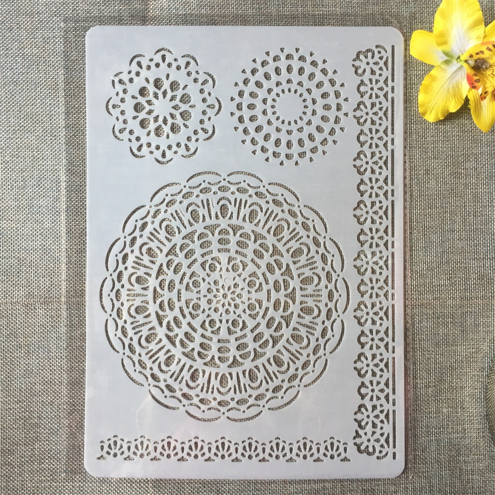 1Pcs A4 Circle Round Floral Edge DIY Craft Layering Stencils Painting Scrapbooking Stamping Embossing Album Paper Card Template
