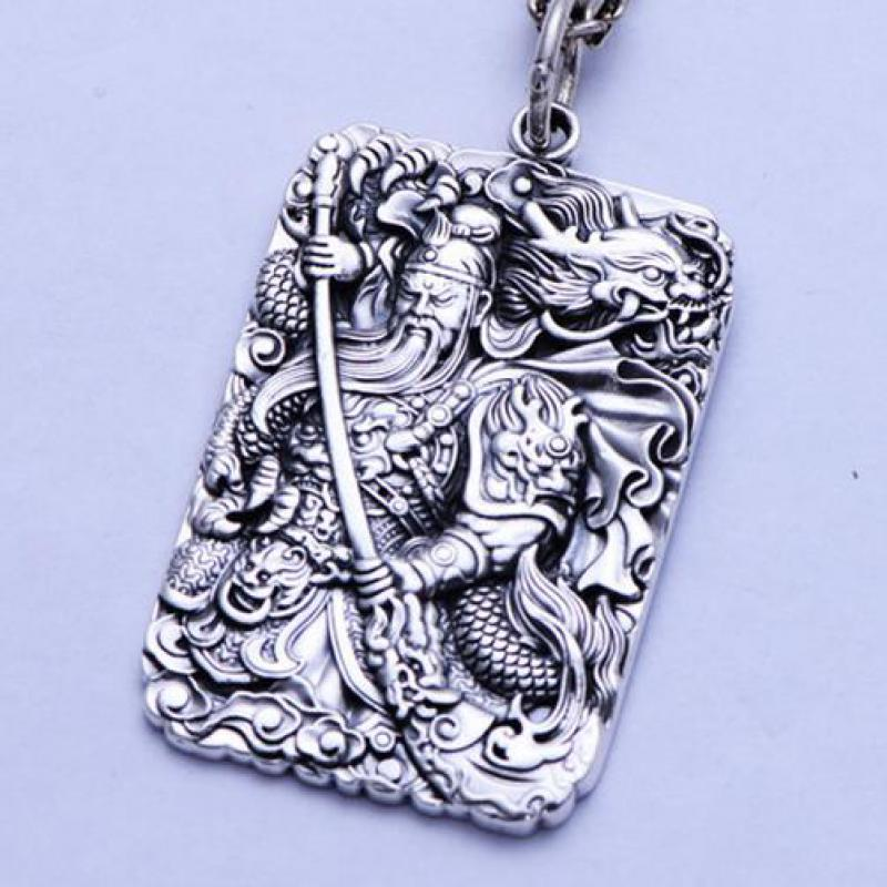 Mantra Guan Gong Pendant For Men Chinese Martial God Of Wealth Carved Six Words Mantra 999 Sterling Silver Jewelry Lucky Amulets brass copper famous three kingdoms guan ping zhou cang guan gong warrior god set