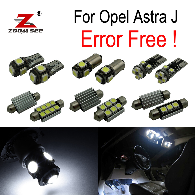 ФОТО 15pcs Error free for Opel for Astra J  OPC GTC Sports Tourer Hatchback LED Lamp Interior Light Kit License plate bulb (09-15)